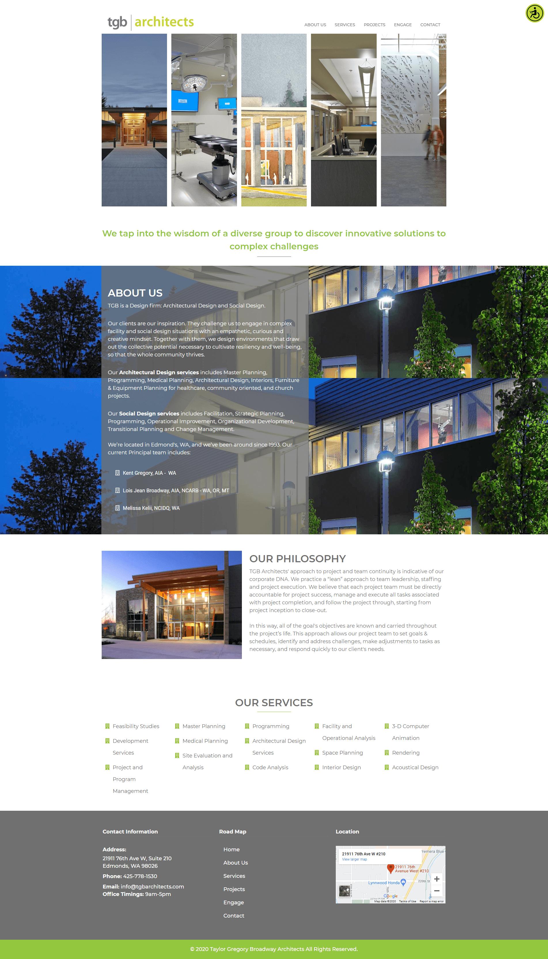 TGB Architects homepage screenshot