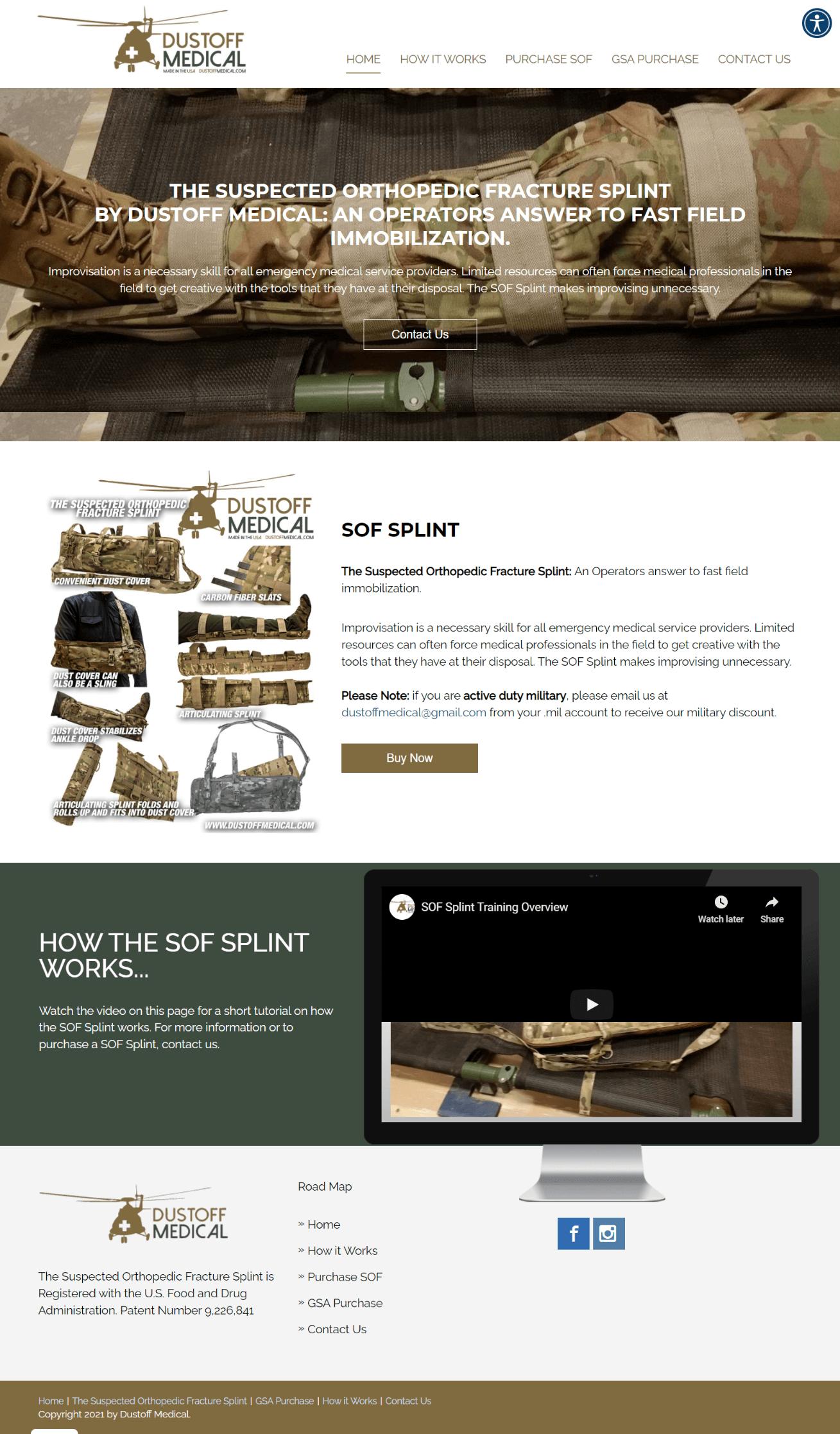 Screenshot of Dustoff Medical Homepage