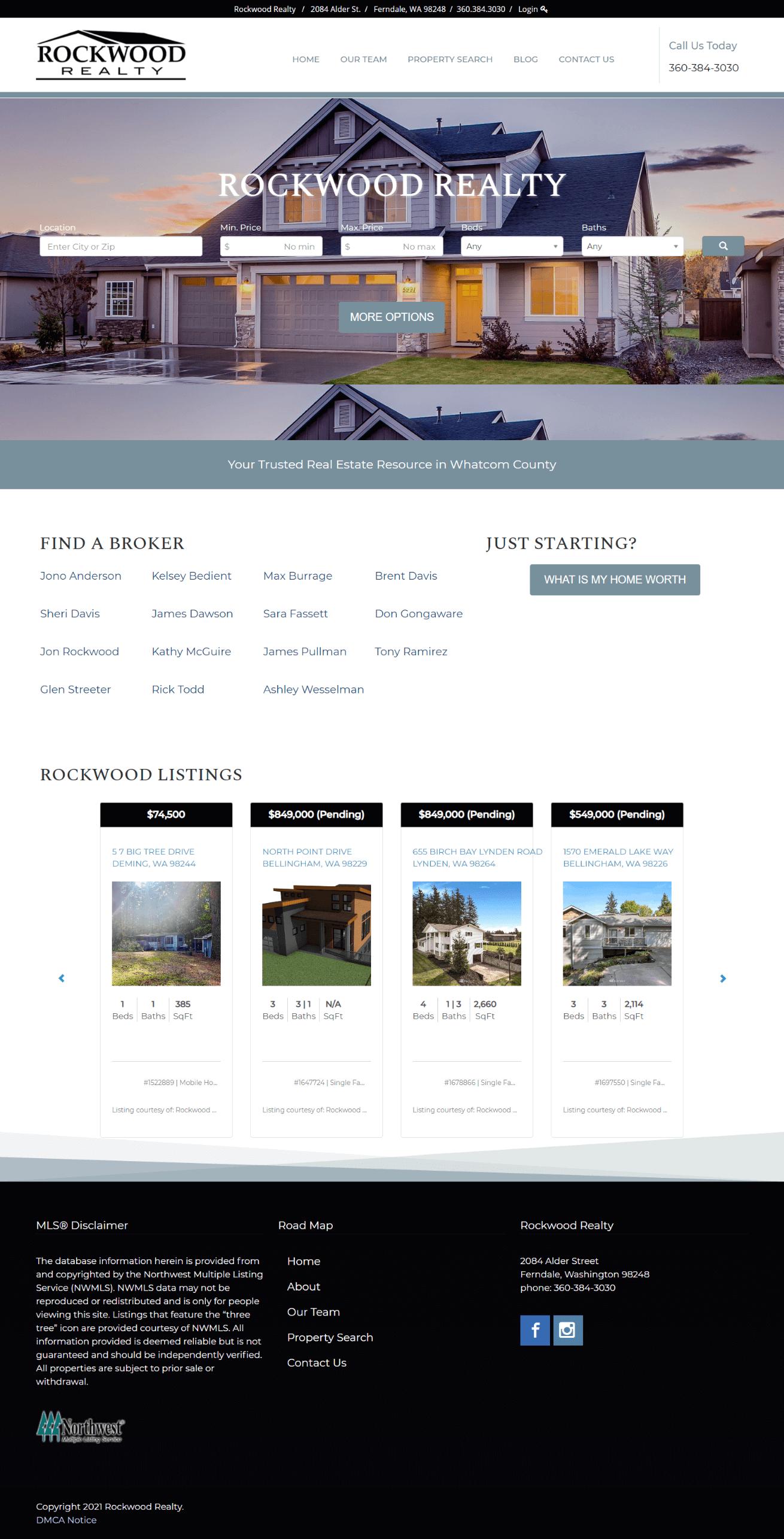 Rockwood Realty Homepage Screenshot