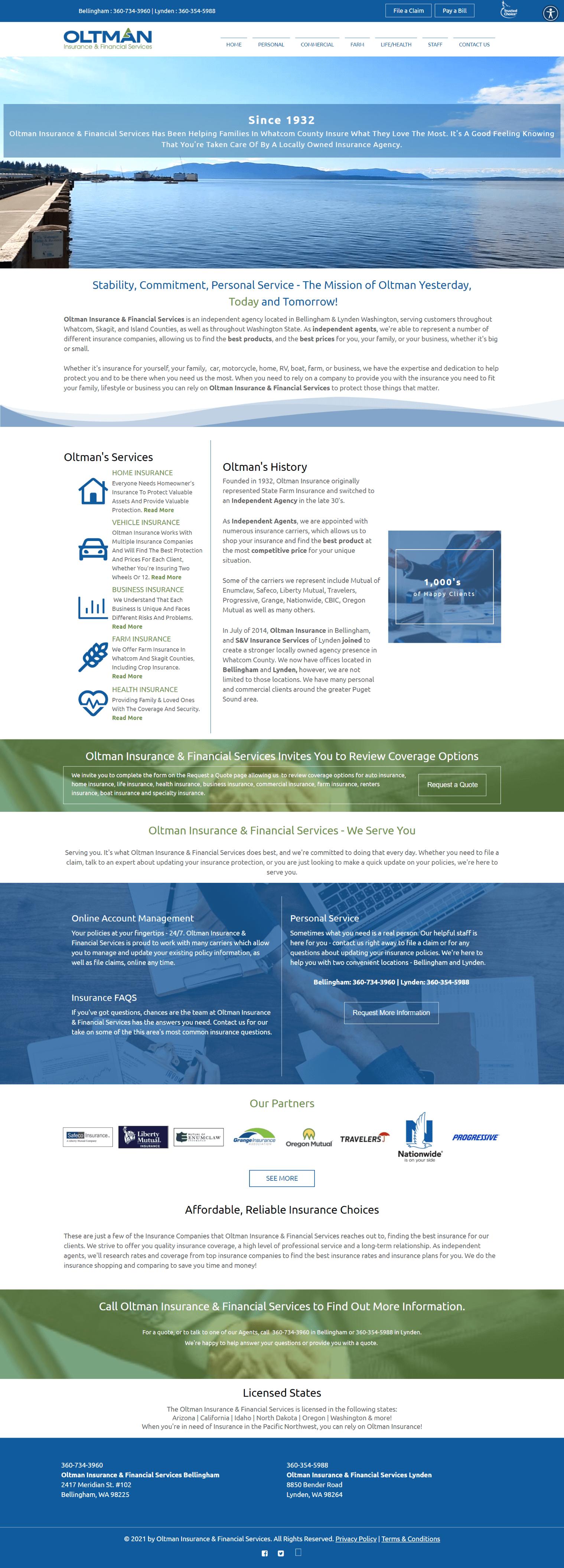 Oltman Insurance Homepage