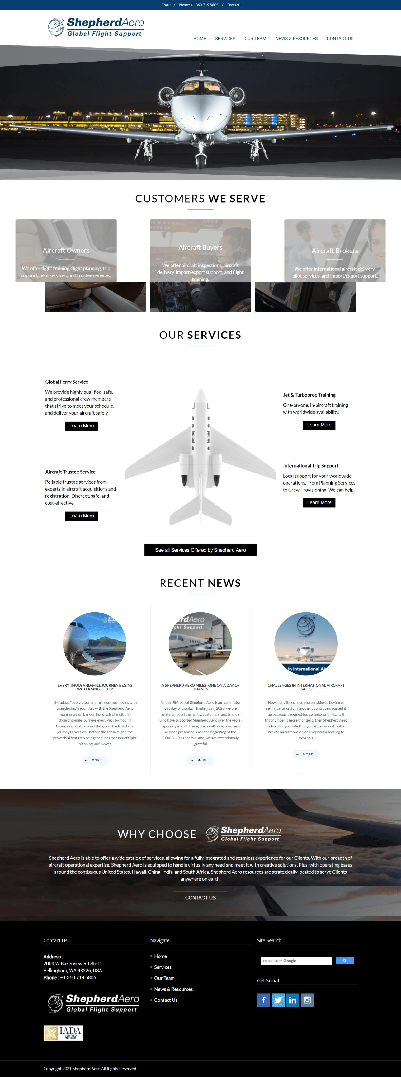 Shepherd Aero homepage screenshot