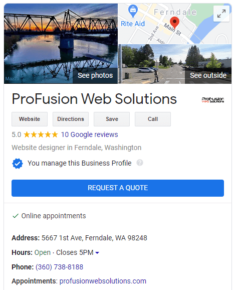 Profusion Web Solutions Google My Business Listing