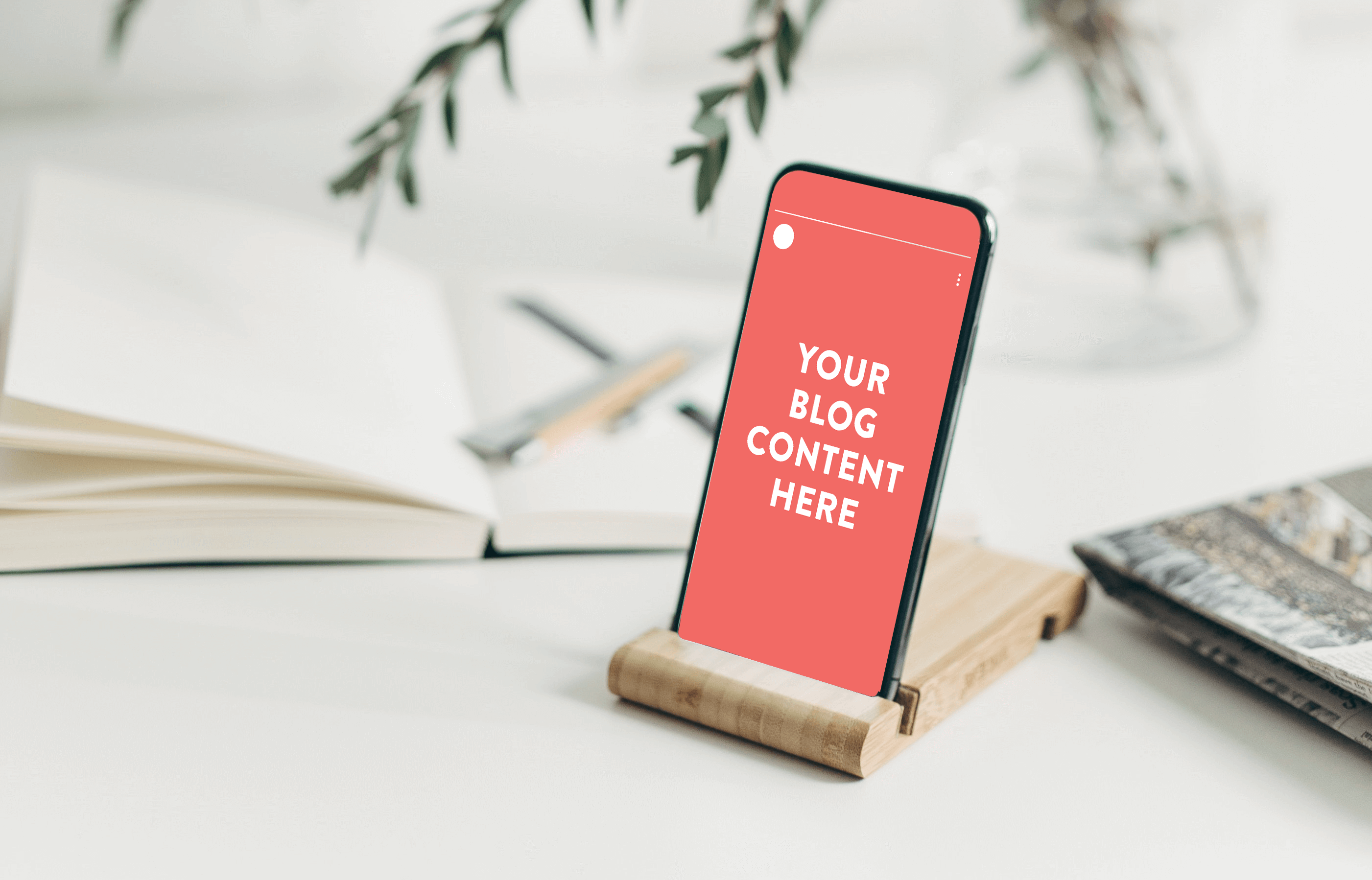Image showing a phone screen with an instagram story that says your blog content here